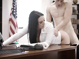 Super busty employee Angela White is fucked by bald headed boss
