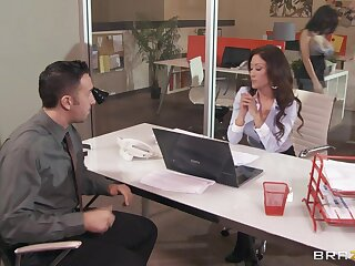 Office sluts Aleksa Nicole with an increment of Capri Cavanni fucked by duo dude