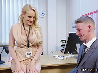 Blonde MILF tries the new guy's big tool in a quick office tryout