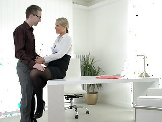 Sexy ass MILF fucked at work and made to swallow the boss's jizz