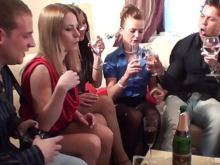Unbelievable orgy with lot of blarney hungry models during home party