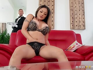 Asian with big tits, flaming couch sex