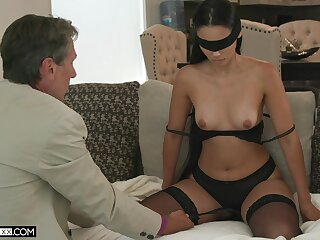 Blind-folded wife fucked by a guy older than her, her hubby's dad