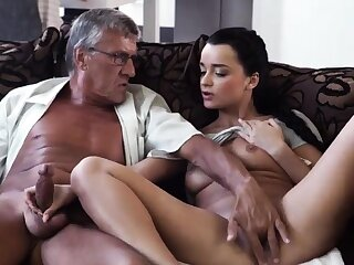 Old couple together with girl go out of business cam What would you choose -