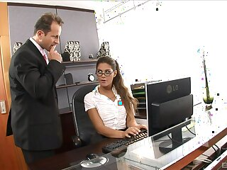 The boss is  fierce to bonk the secretary's wet cunt in merciless XXX