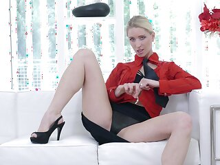Hot aggravation unescorted blondie Uma Zex moans while fingering her pussy