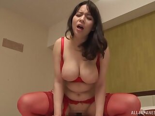 Busty Japanese fit together Mishima Natsuko spreads her legs to ride