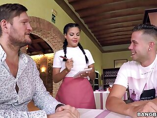 Libidinous waitress Apolonia goes all rub-down the way with two strapping customers