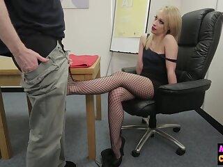 Naughty blue blonde sucks femdom cock